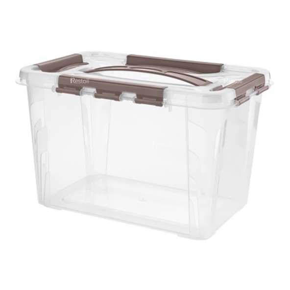 Ящик универсальный Restola 6,65 л с замком и ручкой, 290х190х180, прозрачный - 8 шт/уп