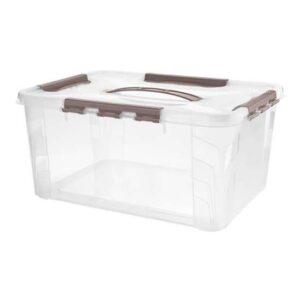 Ящик универсальный Restola 15,3 л с замком и ручкой, 390х290х180, прозрачный - 4 шт/уп