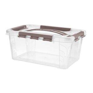 Ящик универсальный Restola 4,2 л с замком и ручкой, 290х190х124, прозрачный - 12 шт/уп